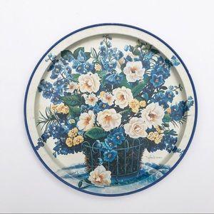 Vintage Metal Floral Botanical Tea Tray